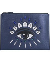 KENZO Clutch A4 Kontact Eye - Blu