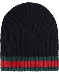 Gucci Cappello a berretto 100 % lana con fondo web - Nero
