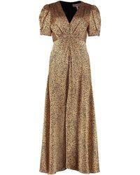 Saloni Lea Printed Long Dress - Multicolor