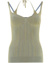 Jacquemus Valensole Ribbed Knit Top - Green