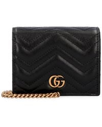 Gucci Wallet on chain GG Marmont in pelle - Nero