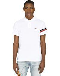 Moncler - Stretch Cotton Piqué Polo Shirt - Lyst