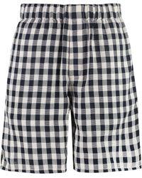 AMI Shorts in cotone con motivo check - Blu