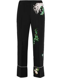 N°21 Printed Cropped Trousers - Black