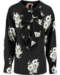 N°21 Blusa in seta stampata - Nero
