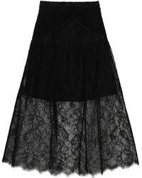 Self-Portrait Lace Midi Skirt - Black