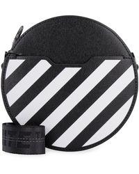 Off-White c/o Virgil Abloh Diag Round Bag Leather Crossbody Bag - Black