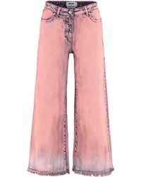 MSGM Jeans culotte con orlo sfrangiato - Rosa