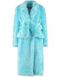 MSGM Faux Fur Coat - Blue