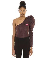 Gcds Lurex Jersey One-shoulder Bodysuit - Multicolour