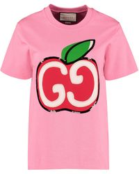 Gucci T-shirt With GG Apple Print - Pink