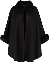 Max Mara Fox Fur-trim Cashmere Shawl - Black