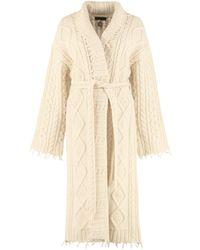 Alanui Cappotto in maglia di lana e cachemire - Neutro