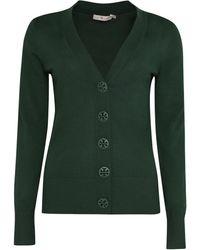 Tory Burch Simone Merino Wool Cardigan - Green