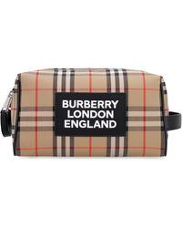 Burberry Vintage Check Print Wash Bag - Natural