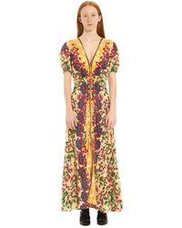 Saloni Lea Silk Floral Dress - Multicolor