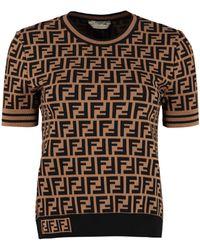 Fendi Jacquard Knit Top - Brown
