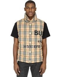 Burberry Vintage Check Print Bodywarmer Jacket - Natural