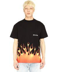 Palm Angels Fire T Shirt - Black