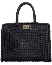 Ferragamo Studio Raffia Tote Bag - Black