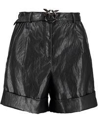 Pinko Licabetto Vegan Leather Shorts - Black