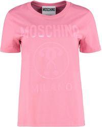 Moschino T-shirt girocollo in cotone - Rosa