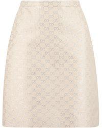 Gucci GG Lamé Mini Skirt - Natural