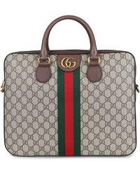Gucci Ophidia GG Supreme Fabric Briefcase - Natural