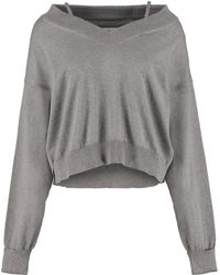 Maison Margiela Newbasic Off-shoulders Pullover - Grey