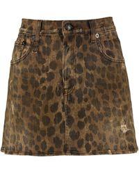 R13 Printed Denim Skirt - Brown