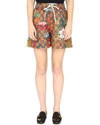 Gucci - Track-shorts con stampa GG Flora - Lyst