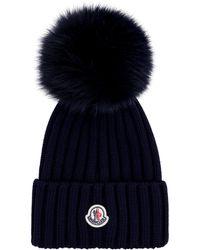 Moncler Cappello in maglia a coste con pon-pon - Blu