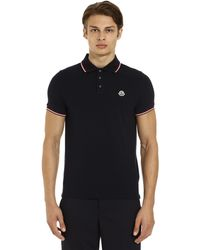 Moncler - Logo Patch Cotton Piqué Polo Shirt - Lyst