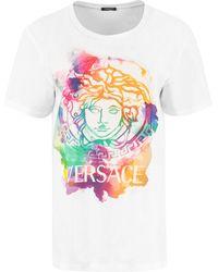 Versace Logo Print Cotton T-shirt - White