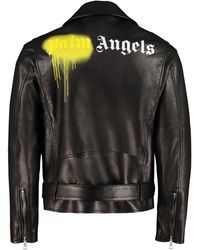 Palm Angels Belted Leather Jacket - Black