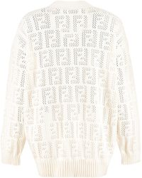 Fendi Cardigan in maglia traforata - Bianco