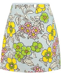 Tory Burch Floral Print Mini Skirt - Blue