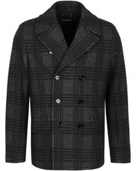 Dolce & Gabbana Wool Blend Double-breasted Coat - Grey