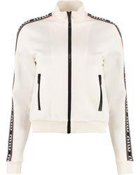 Miu Miu Full Zip Sweatshirt With Side Stripes - White