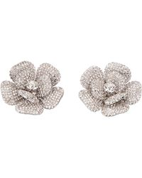 Alessandra Rich Faba Maxi Earrings With Crystals - Metallic
