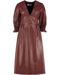 MSGM Leather Effect V-neck Dress - Brown