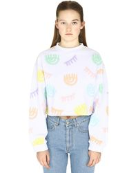Chiara Ferragni Logomania Cotton Cropped Sweatshirt - White