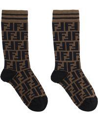 Fendi Logo Detail Sport Socks - Black