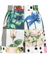Dolce & Gabbana Shorts in cotone stampato - Bianco