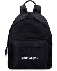 Palm Angels Logo Print Nylon Backpack - Black