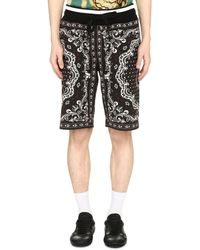 Dolce & Gabbana Printed Cotton Bermuda Shorts - Black