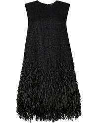 MSGM Abito in tweed con frange - Nero