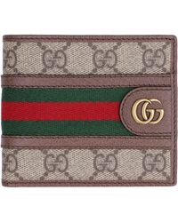 Gucci GG Supreme Canvas & Leather Three Pigs Wallet - Brown