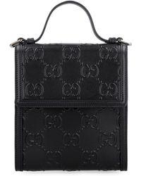 Gucci GG Embossed Messenger Bag - Black