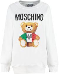 Moschino Felpa lunga con stampa Teddy Bear - Bianco
